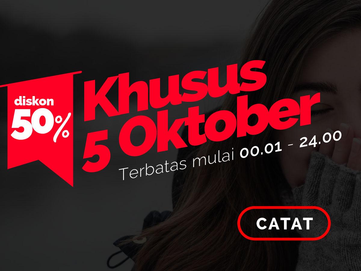 Hanya Sehari, Diskon 50% Tema Ciuss 5 Oktober